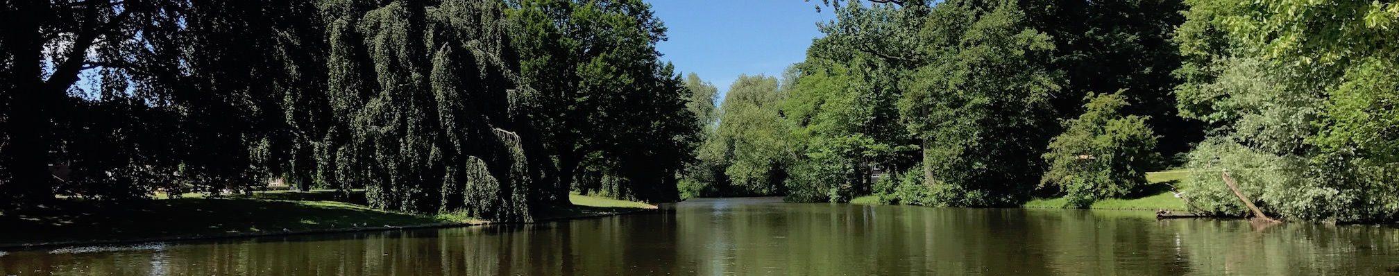 Groningen, Noorderplantsoen, Teich am Parkeingang