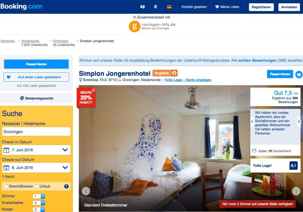 Groningen - Booking.com - Simplon Jongerenhotel