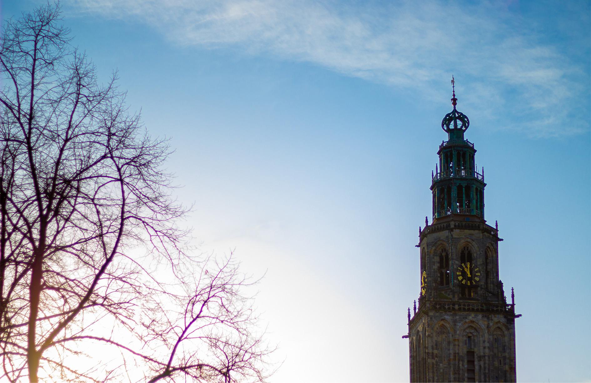 Groningen - Martiniturm, von der Kreupelstraat aus gesehen