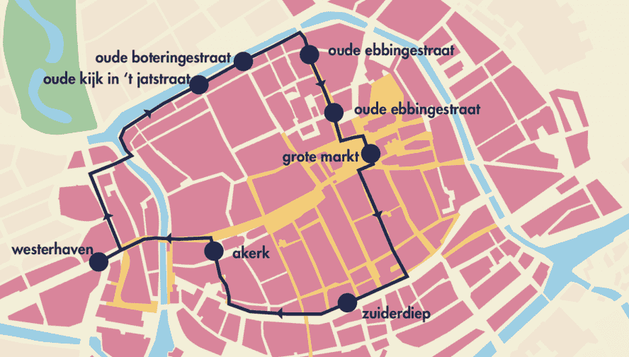 Groningen - Innenstadt - Pendelbus - Route